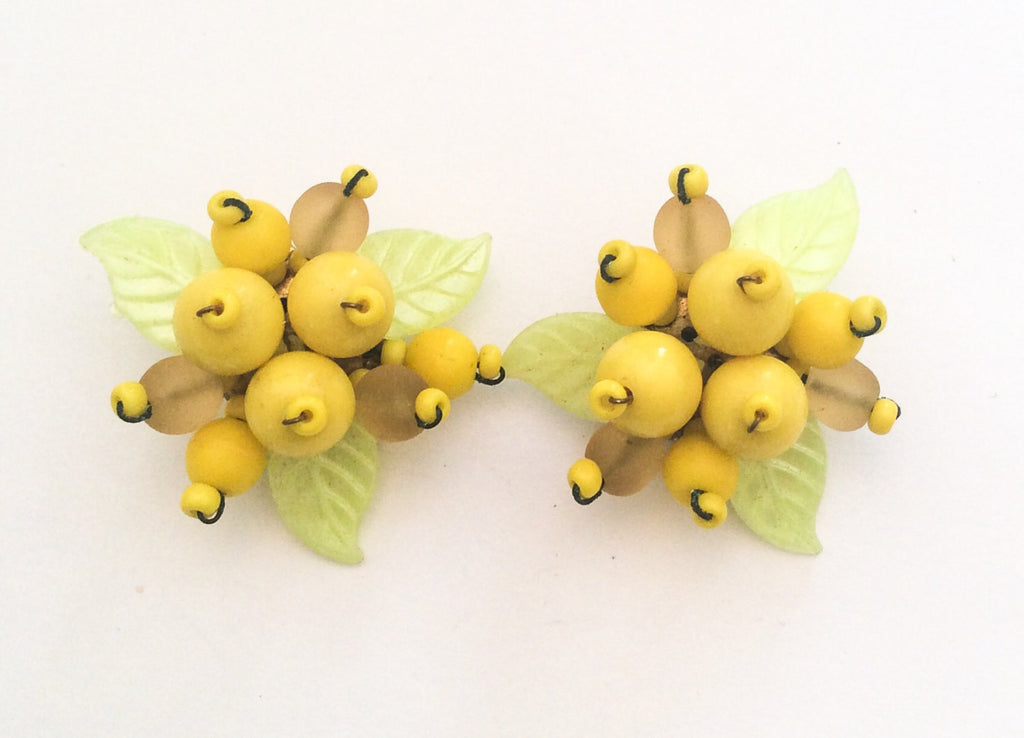 SOLD Celluloid Earrings, Lemon, Yellow, Art Deco Vintage Jewelry