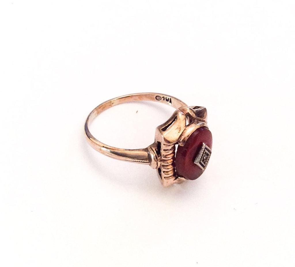 NOW SOLD Carnelian Ring, Diamond, Art Deco, 10K Gold, Vintage Fine Jewelry