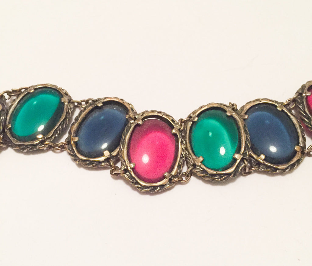 NOW SOLD Gripoix Glass Bracelet, Poured Glass, Red Green Blue, Art Deco Vintage