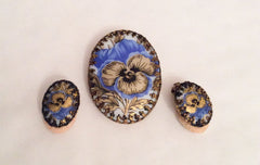 Pansy Flower Vintage Jewelry Set, Brooch with Earrings, Porcelain Germany, Vintage Jewelry