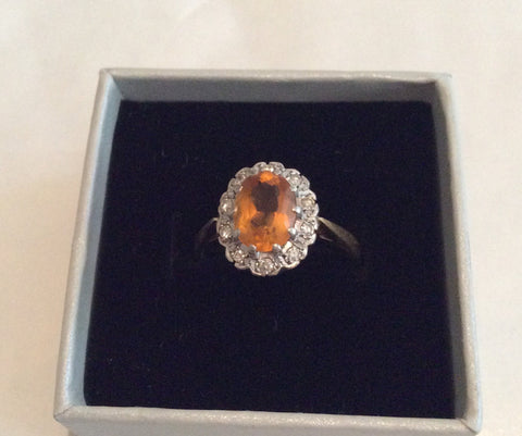 NOW SOLD Art Deco Ring, Citrine, Diamond, Engagement, 18K Gold, Vintage Fine Jewelry