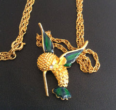 NOW SOLD Enamel Kingfisher Bird Pendant Vintage Jewelry, Gift for Her