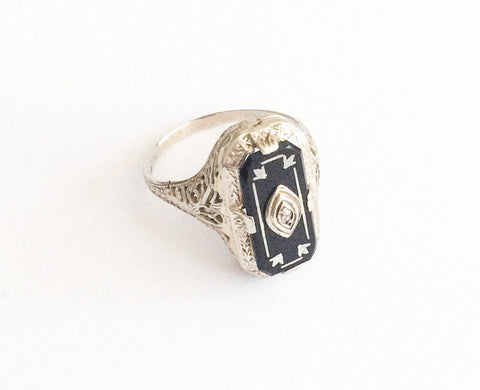 Art Deco Ring, Onyx Diamond, Ostby & Barton, 14K White Gold, Vintage Fine Jewelry