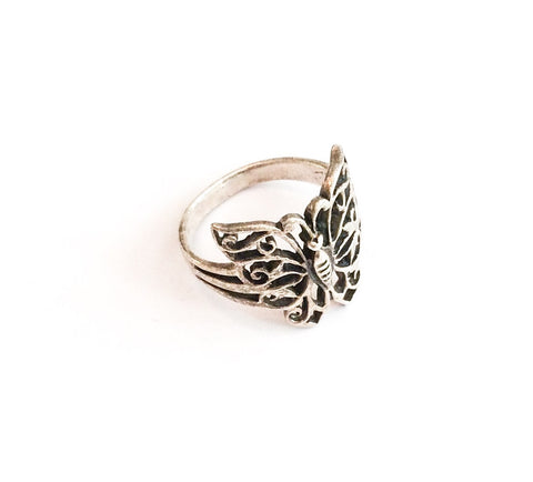 NOW SOLD Butterfly Ring, European Silver, Filigree, 1950s