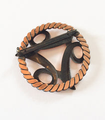 Copper Modernist Brooch, Vintage Jewelry
