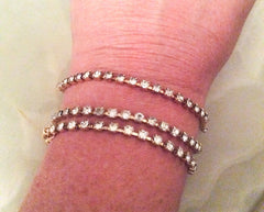 NOW SOLD Rhinestone Bracelets, Lot of Three Vintage Jewelry