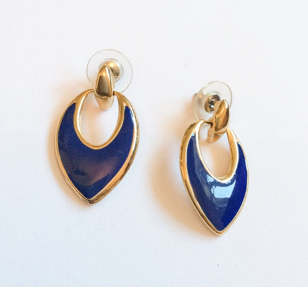 NOW SOLD Vintage Blue Enamel Earrings, Royal Blue, Pierced