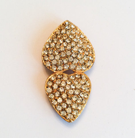 Rhinestone Double Heart Brooch Signed Kane 1960s Vintage Jewelry
