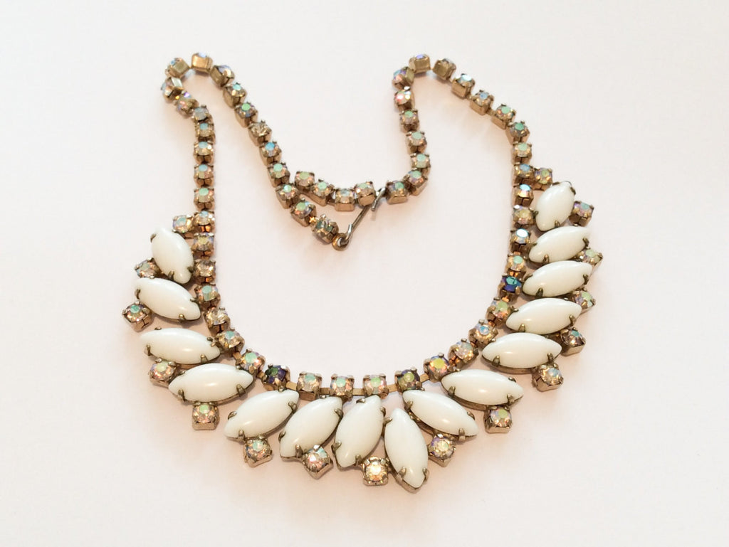 NOW SOLD Milk Glass Necklace with Iridescent Rhinestones, Vintage Jewelry
