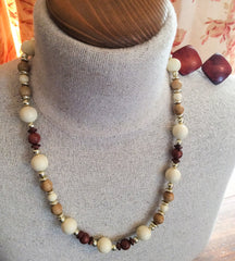 Lucite and Wood Bead Necklace with Earrings, Vintage Jewelry