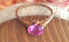 NOW SOLD Edwardian Pink Tourmaline, 10K Gold Art Deco Ring, Engagement, Vintage Fine Jewelry