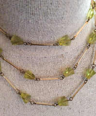 Green Glass Necklace Art Deco Inspired Flapper Beads Vintage Jewelry