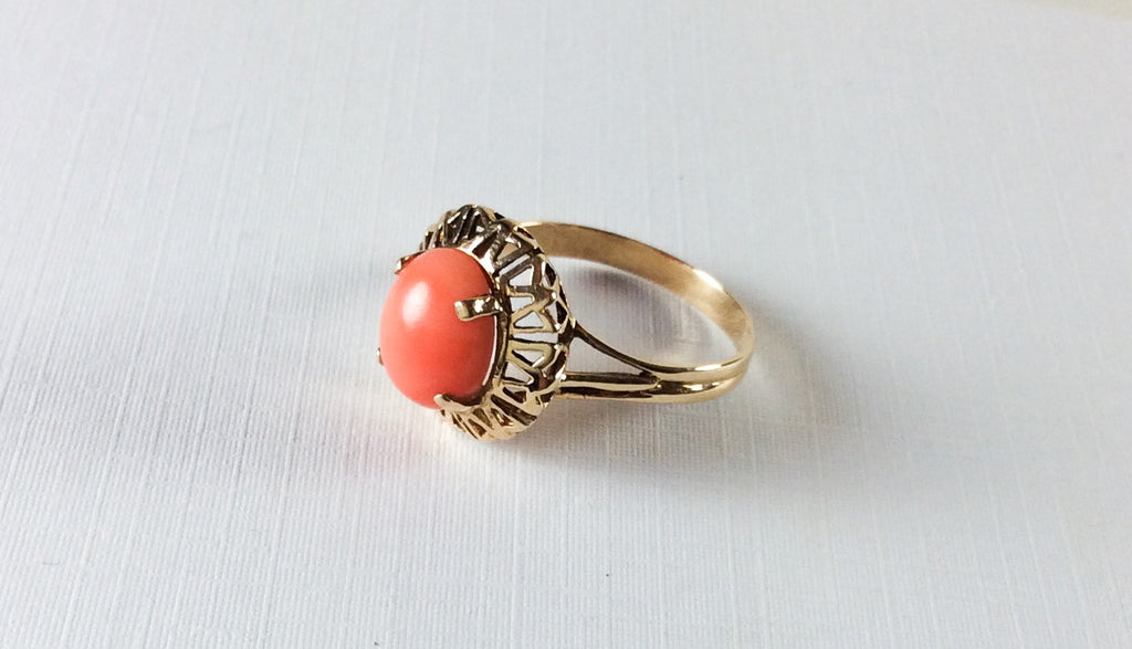 NOW SOLD Coral Ring, 14K Gold Ring, Mid Century, Vintage Fine Jewelry