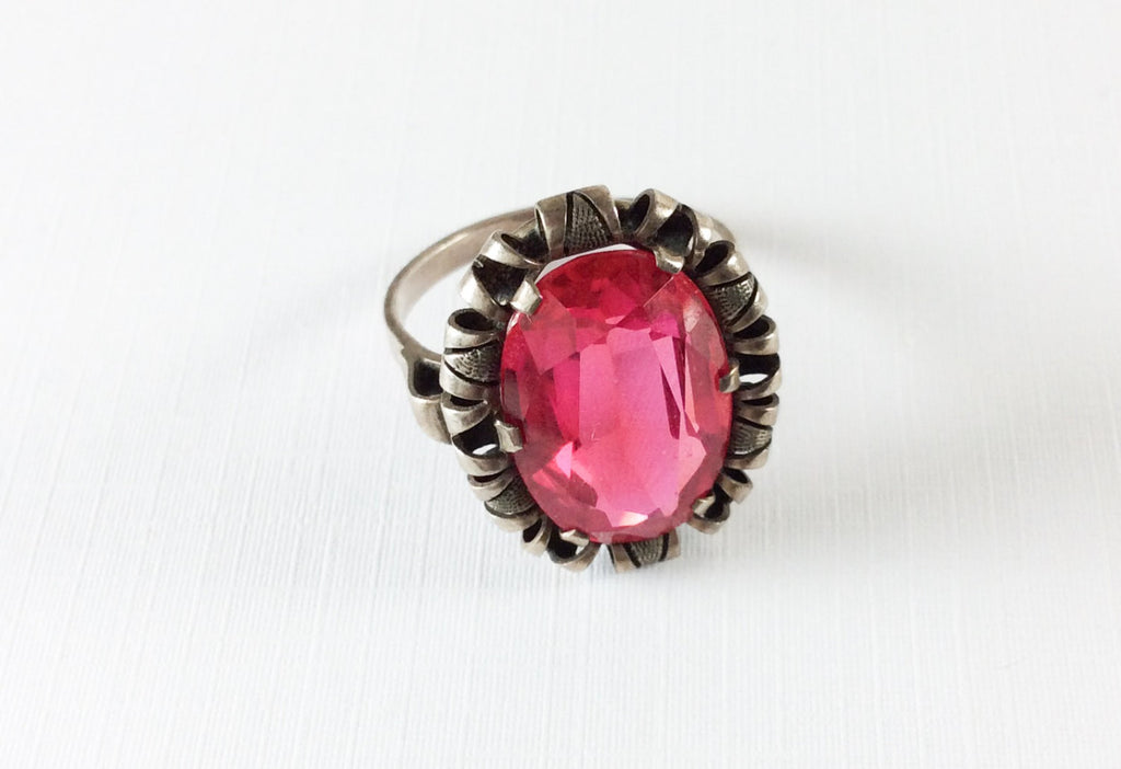 NOW SOLD Art Deco Ring, Raspberry Red Glass, European Silver, Vintage Jewelry