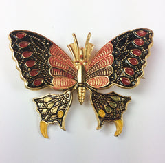 NOW SOLD Enamel Butterfly Brooch, Red with Black, Spanish 1950s Vintage Jewelry