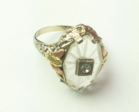 Camphor Glass Ring, 10K Gold Art Deco 1920s Vintage Fine Jewelry