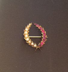 Victorian Ruby Pearl Brooch, Wheat Wreath, 15K Gold, Vintage Fine Jewelry