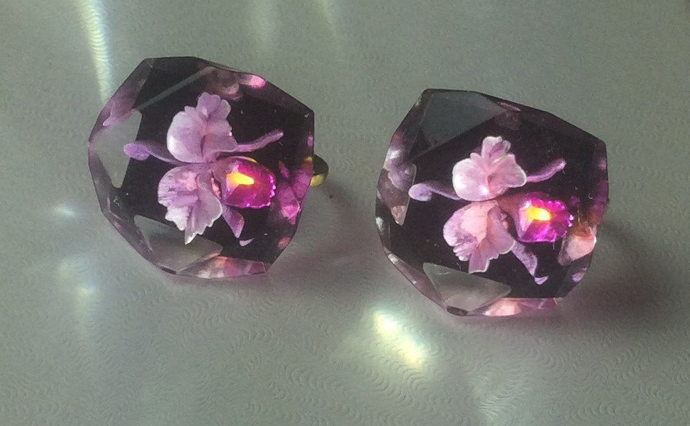 SOLD Reverse Carved Earrings, Corsage Orchid, Screw Back, Art Deco Vintage Jewelry