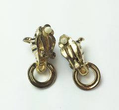 NOW SOLD Door Knocker Earrings Zebra Black White Enamel Vintage
