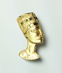 NOW SOLD Egyptian Revival Nefertiti Brooch, 1960s Vintage Jewelry