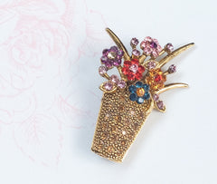 SOLD Vase or Flower Bouquet Brooch, Red Pink Blue Rhinestone