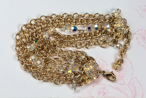 NOW SOLD Kirks Folly, Gold Charm Heart Bracelet, Multi Strand, Rhinestone, Crystal, Victorian Revival