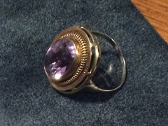 Modernist Amethyst Ring, 14K Gold European Fine Jewelry
