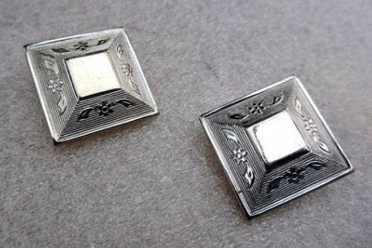 Victorian Revival, Silver Engraved Earrings, Egyptian Revival, 1950s Vintage Jewelry