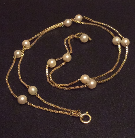 Pearl 14K Gold Necklace Venetian Chain Vintage Fine Jewelry