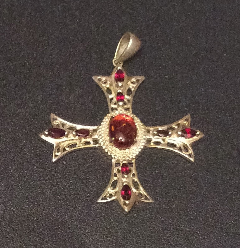 NOW SOLD Amber Garnet Cross Pendant Chinese Sterling Silver