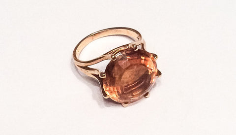 NOW SOLD Citrine Ring, 18K Gold, Dress Ring, Mid Century Vintage Fine Jewelry
