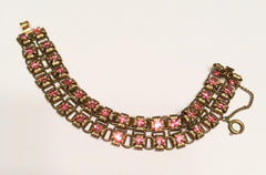 Art Nouveau Pink Glass Book Chain Bracelet, Vintage Jewelry