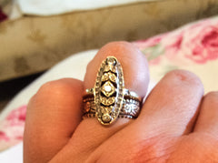 NOW SOLD Art Deco Diamond Engagement Ring Navette 15K Gold Fine Jewelry