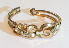 NOW SOLD Crown Trifari Rhinestone Baguette Bangle Bracelet Vintage Jewelry