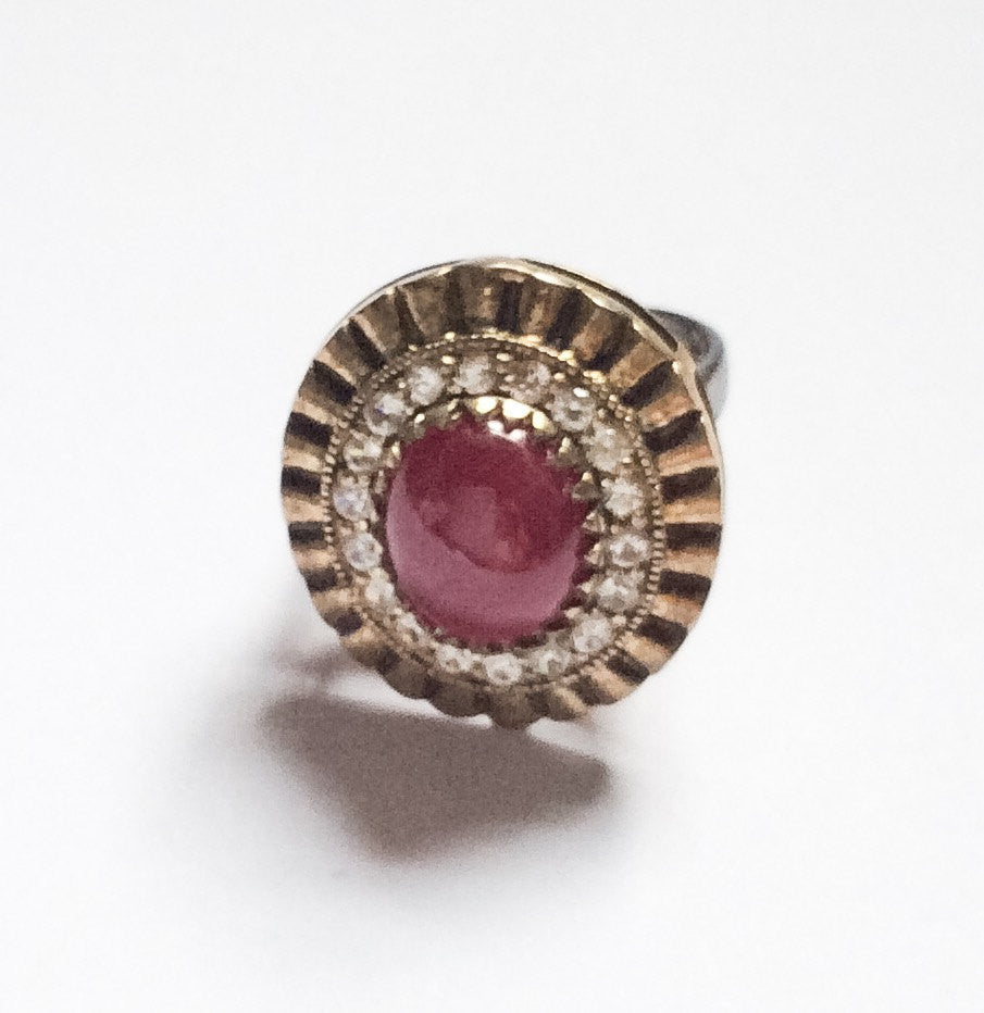 NOW SOLD Vintage Silver Ruby Ring, Large Gemstone, with White Topaz, Sterling Silver, 1940s