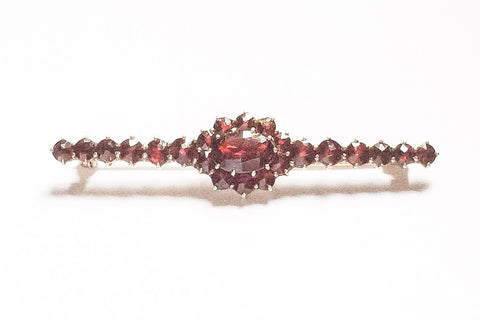 NOW SOLD Bohemian Garnet Art Deco Shoulder Pin, Hallmarked 10K , Vintage Fine Jewelry
