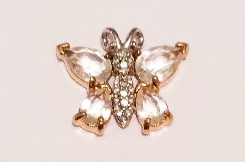 NOW SOLD Rhinestone Butterfly Pendant, Gold with Silver, Vintage Jewelry
