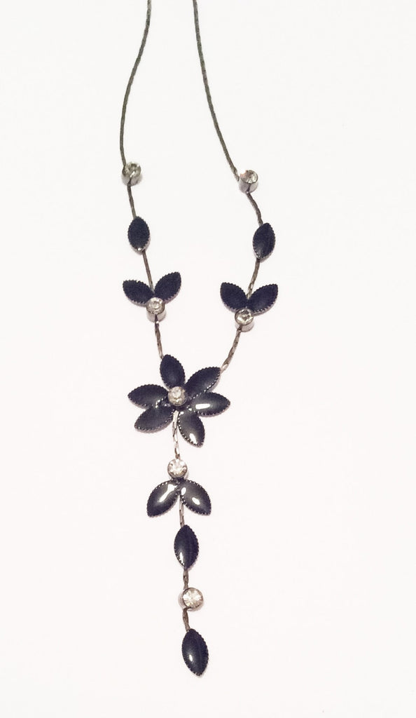 SOLD Black Flower Necklace, Art Deco Revival, Vintage Jewelry