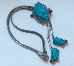 NOW SOLD Selro Necklace Blue Devil Rhinestone Pendant Vintage Jewelry