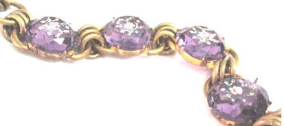 Czech Glass Bracelet, Amethyst Glass Flower Bracelet, Art Deco 1930s Vintage Jewelry