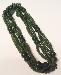Jade Bead Necklace, Triple Strand, 1940s Art Deco Vintage Jewelry