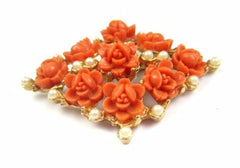 NOW SOLD Celluloid Pin or Brooch, Coral Colour, Carved Rose, Pearls