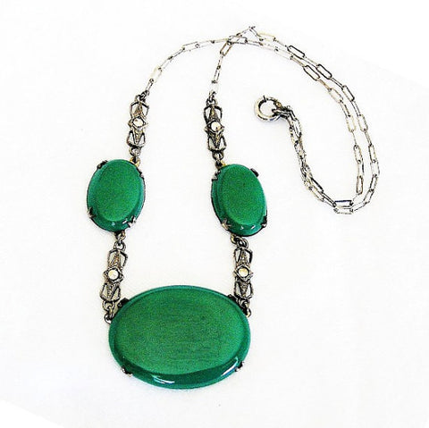 Art Deco Chrysoprase Necklace, Marcasite, Sterling Silver