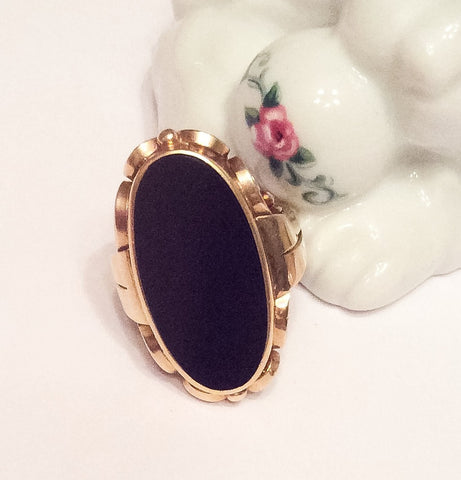 NOW SOLD Art Nouveau Ring, 14K Gold, European Gold, Onyx, Vintage Fine Jewelry