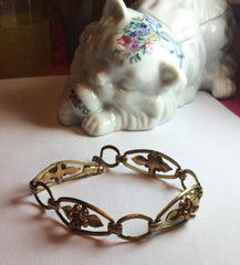NOW SOLD Art Deco Bracelet, Gold Flower, Krementz Designer, 1940s Vintage Jewelry