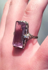 NOW SOLD Art Deco Ring, Amethyst Gemstone 14K White Gold Vintage Fine Jewelry