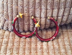 NOW SOLD Cloisonne Enamel Hoop Earrings, Pierced, Chinese Vintage Jewelry
