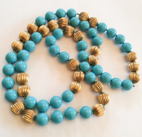 SOLD French Blue Bead Glass Necklace, 1920s Art Deco Vintage Jewelry
