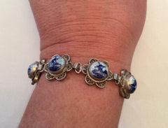 NOW SOLD Delft Bracelet, Porcelain, Dutch Tourist Souvenir Bracelet, Windmills. Silver Vintage Jewelry