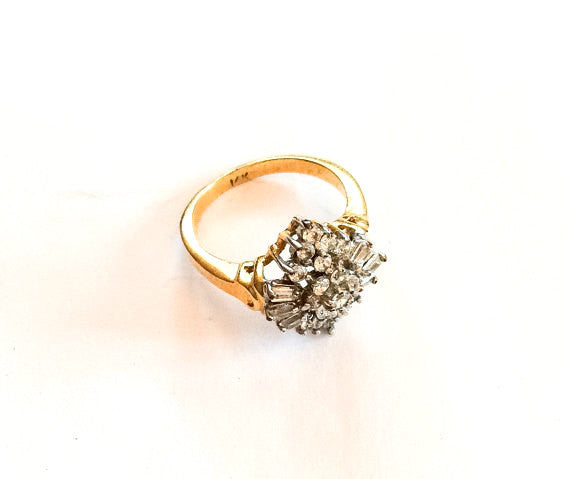 Cubic Zirconium Cluster Ring, 14K Gold, Vintage Fine Jewelry